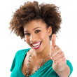 Portrait Of Young Woman Showing Thumb Up Sign — Stock Photo