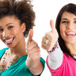 Two Friends Showing Thumb Up Sign — Stock Photo