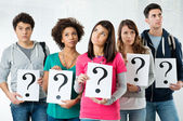 Students Holding Question Mark — Photo