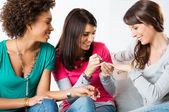 Young Girls Applying Nail Paint — Stock Photo