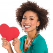 Woman Holding Heart Shape - Foto Stock
