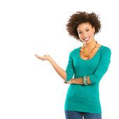Porträtt av glad kvinna som har — Stockfoto