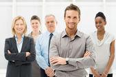 Portret szczęśliwy biznesmeni — Zdjęcie stockowe