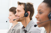 šťastný telefonní operátory — Stock fotografie