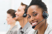 Gelukkig call center exploitant — Stockfoto