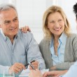 Senior Couple Talking With A Consultant - Stock Photo