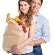 Young Couple With Grocery Bag — Stock Photo