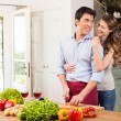 Happy Young Couple Working In Kitchen — Foto Stock