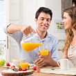 Happy Couple Having Breakfast — Stock Photo