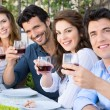 Friends Cheering With Wine Glasses — Stock Photo