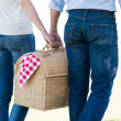 Closeup Of Couple Holding Picnic Basket — Stock Photo