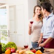 Young Couple Preparing Lunch — Stock Photo