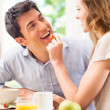 Happy Young Couple Having Breakfast — Stock Photo
