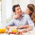 Happy Young Couple Enjoying Breakfast — Stock Photo