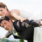 mariée et le marié ferroutage — Photo