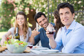 Man Drink Glass Of Wine — Stock Photo