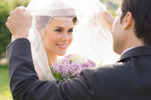 Groom Looking At Bride With Love — Stock Photo