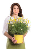 Happy Young Woman Holding Plant — Stock Photo