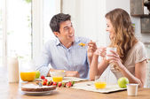 Young Couple Having Breakfast — Stock Photo