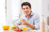 Man Having Breakfast — Stock Photo