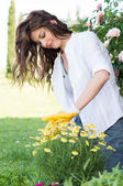 Portrait Of Woman Pruning Flower — Stock Photo