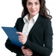 Business woman holding clipboard — Stock Photo