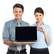 Businesspeople Showing Laptop — Stock Photo
