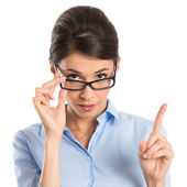 Businesswoman Holding Eyeglasses — Stock Photo