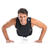 Happy Young Man Doing Pushups — Stock Photo