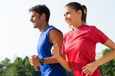 Happy Couple Jogging Outdoor — Stock Photo
