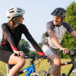 Sporty Couple On Mountan Bike — Stock Photo