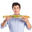Young Man Holding Baguette Sandwich — Stock Photo