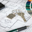 House Key On Blueprint — Stockfoto