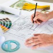 Draftsman Drawing Plan On Blueprint — Stock Photo