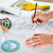 Draftsman Drawing Plan On Blueprint — Stock Photo #34474451