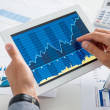 Businessman Analysing Growth With Tablet — Stock Photo