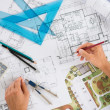 Foto Stock: Architect With Blueprints