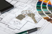 House Key On Blueprint — 图库照片