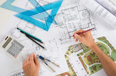 Architect With Blueprints — Stock Photo
