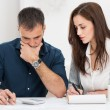 Couple Calculating Budget — Stock Photo