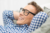 Man With Eyeglasses Contemplating — Stock Photo