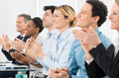 Businesspeople Clapping In Office — Stock Photo