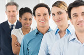 Satisfied Businesspeople Standing In A Row — Stock Photo