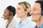 Happy Telephone Operators — Stock Photo