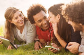 Happy friends together outdoor — Stock Photo