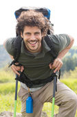 Happy Man Hiking Outdoor — Stock Photo