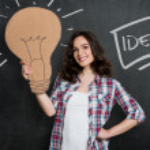 Woman Thinking A Big Idea — Stock Photo #50521101