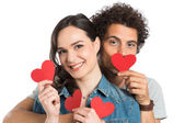 Couple Holding Paper Heart — Stock Photo