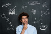 Uncertain Young Businessman Thinking — Stock Photo
