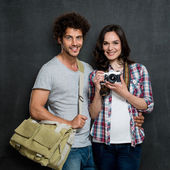 Couple Of Photographers With Vintage Camera — Stock Photo
